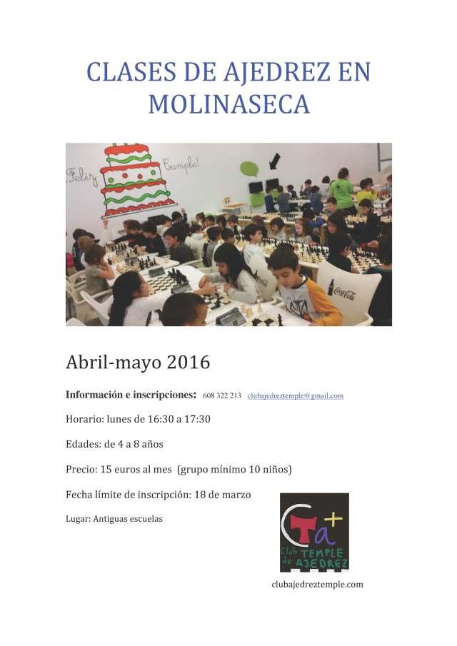 CARTEL  CLASES DE AJEDREZ MOLINASECA